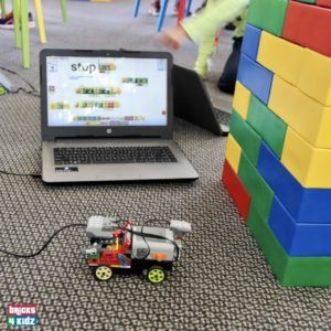 Car and laptop in our Workshops and Programs with LEGO®