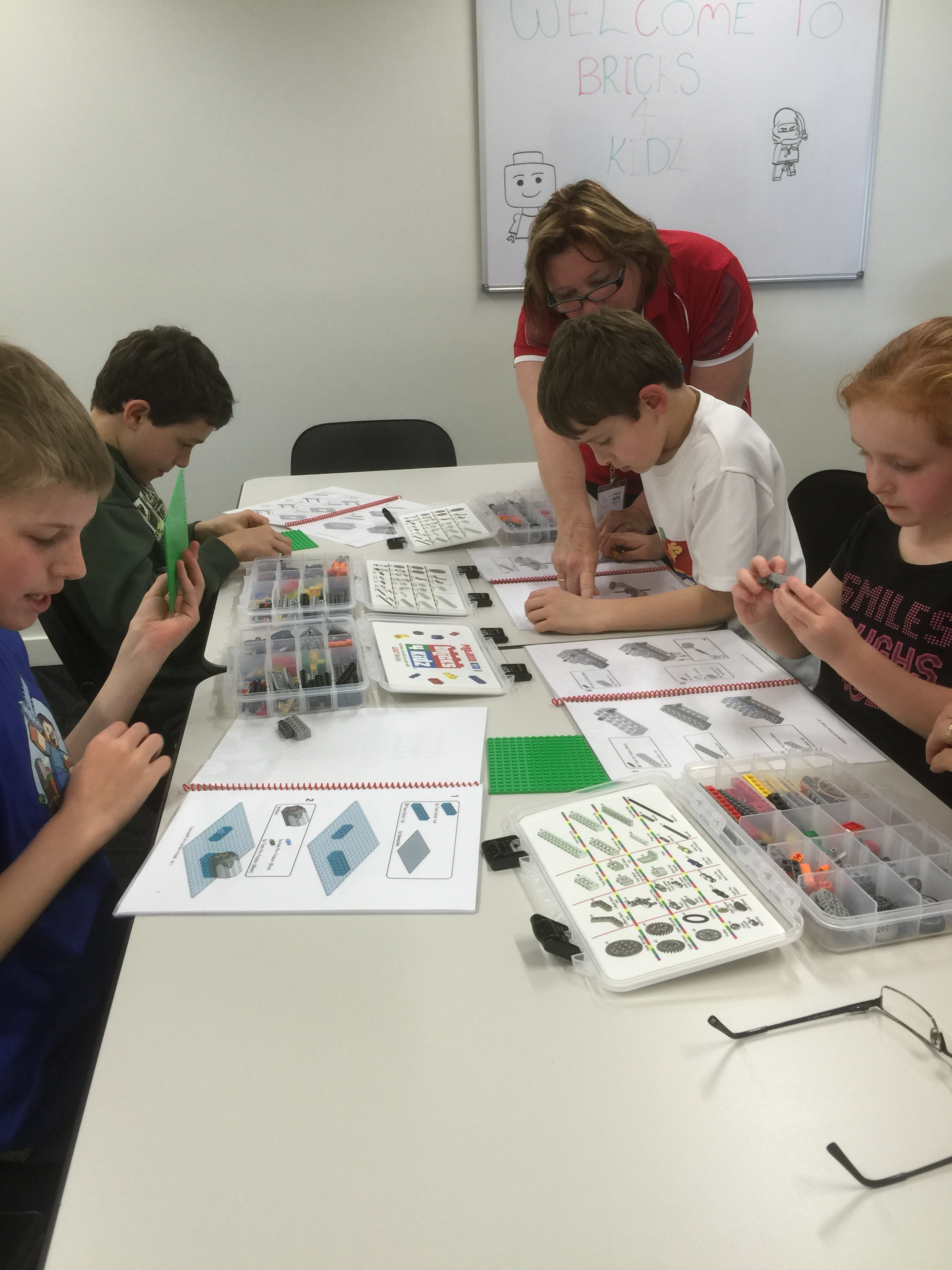 Kids enjoying a workshop at Bricks 4 kidz launch day