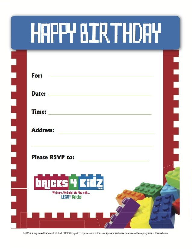Party Invitations Download | Bricks 4 Kidz - Sydney - Eastern Suburbs