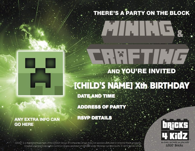 BRICKS 4 KIDZ Sydney | Birthday Invite MINECRAFT