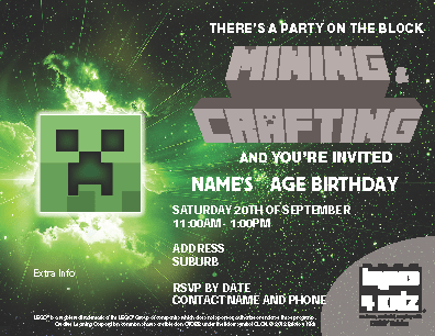 BRICKS 4 KIDZ Minecraft Party Invitation 2