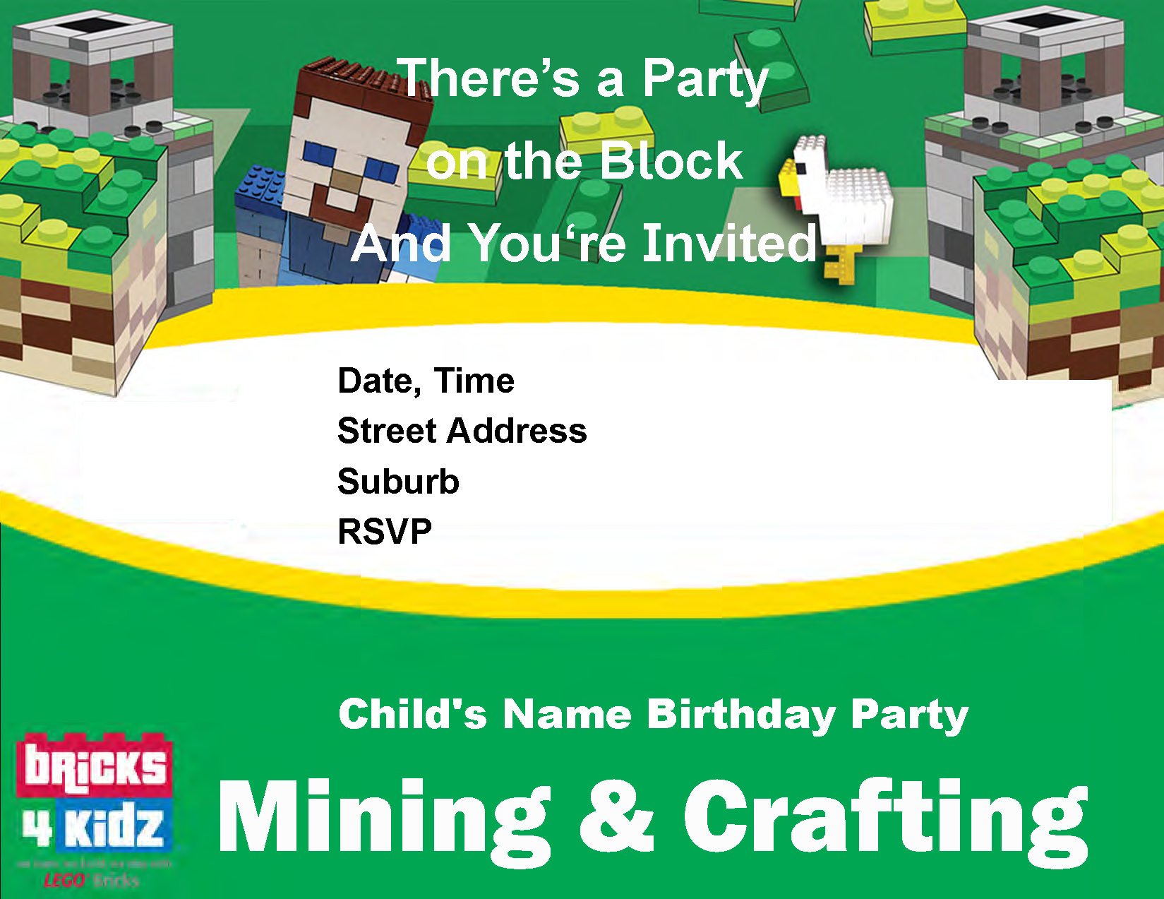 BRICKS 4 KIDZ Minecraft Party Invitation 1