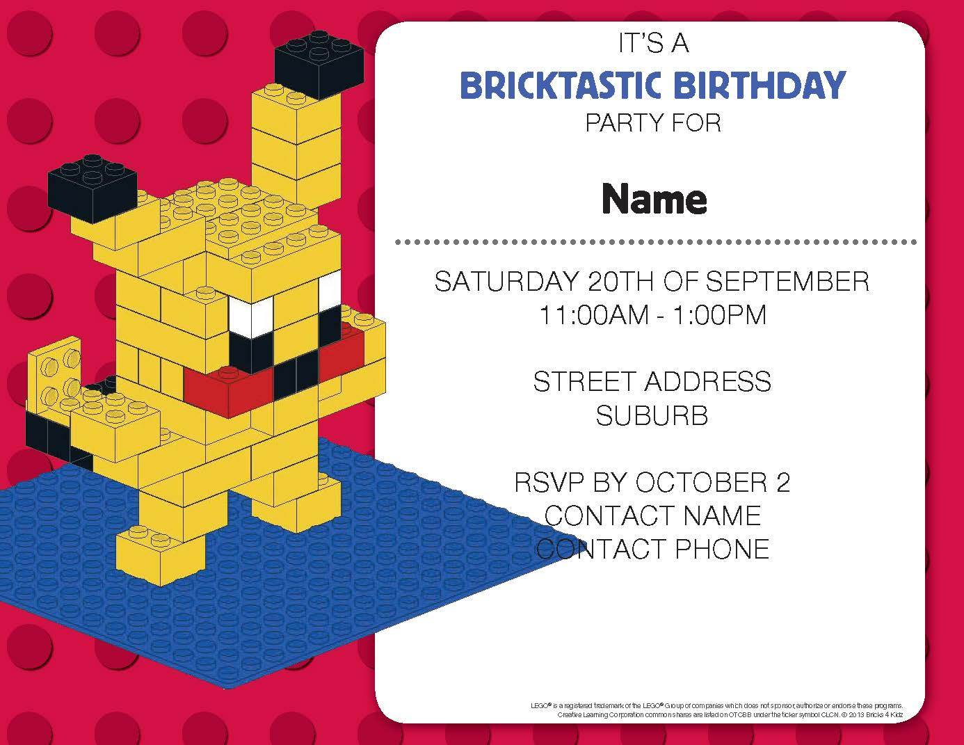 BRICKS 4 KIDZ PARTY INVITATION 1