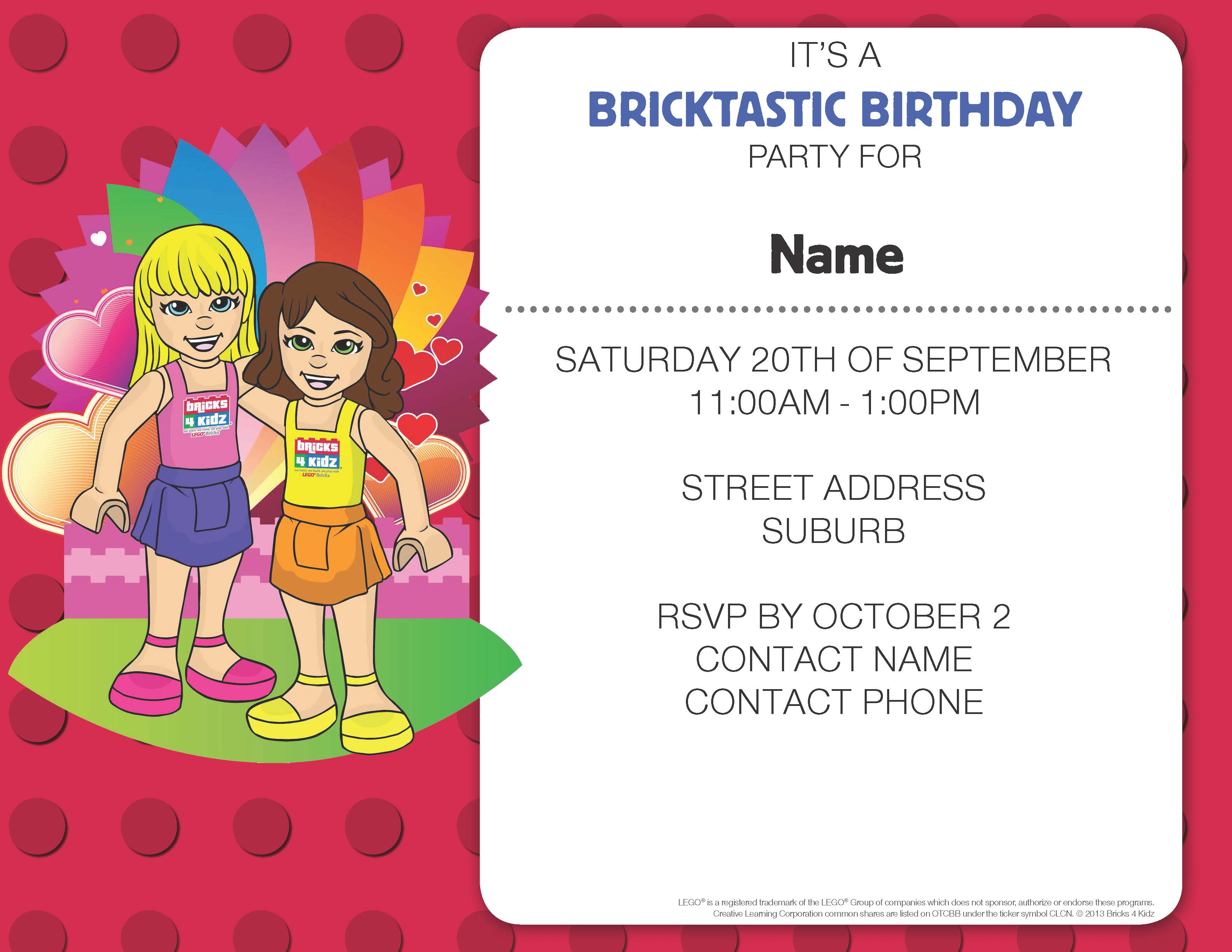 Fun Invitations for a LEGO® Birthday Party